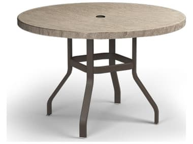 Homecrest Slate Aluminum 42'' Wide Round Counter Table with Umbrella Hole HC3742RBSL