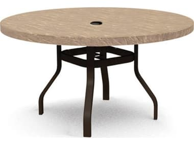 Homecrest Sandstone Faux Aluminum 54'' Wide Round Counter Table with Umbrella Hole HC3754RBSS