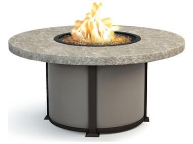 Homecrest Sandstone Aluminum 54'' Wide Round Chat Fire Pit Table HC4654CSS