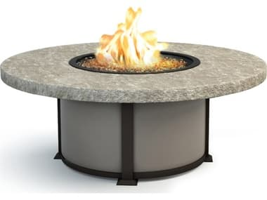 Homecrest Sandstone Aluminum 54'' Wide Round Coffee Fire Pit Table HC4654LSS
