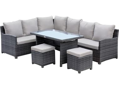 Hospitality Rattan Outdoor Ultra Grey Woven 5 Piece Sectional Lounge Set with Cushions HP8903215FGRY5PC