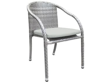 Hospitality Rattan Outdoor Athens Whitewash Woven Stackable Dining Arm Chair HP8951147WW