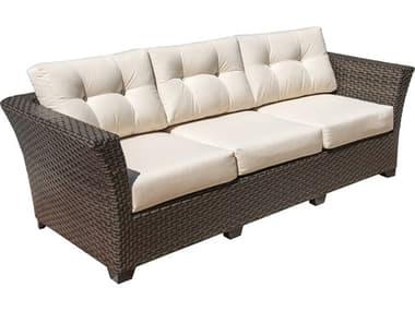 Hospitality Rattan Outdoor Fiji Dark Brown Wicker Sofa with Cushions HP9011347ATQS