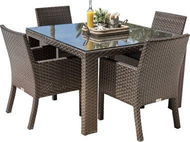 Hospitality Rattan Outdoor Fiji Dark Brown Wicker 5 Piece Dining Set HP9013347ATQ5DA