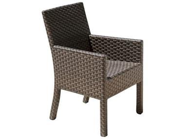 Hospitality Rattan Outdoor Fiji Dark Brown Wicker Stackable Dining Arm Chair HP9013347ATQAC