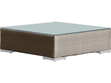 Hospitality Rattan Outdoor Rubix 46 Wide Wicker Rectangular Coffee Table HP9021349KBUCTGL