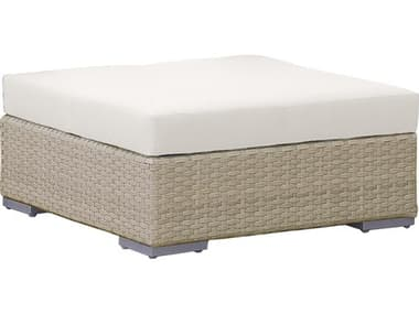 Hospitality Rattan Outdoor Rubix Kubu Wash Wicker Ottoman with Cushions HP9021349KBUO