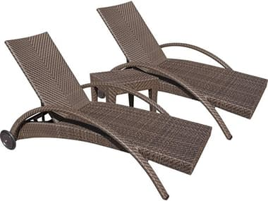 Hospitality Rattan Outdoor Soho Java Brown Wicker 3 Piece Lounge Set HP9031324JBP3CL
