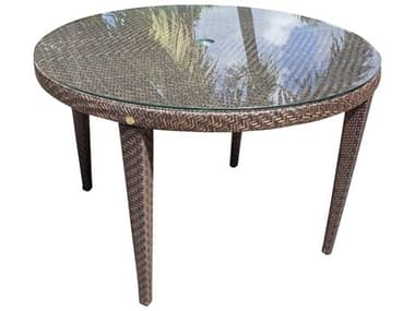 Hospitality Rattan Outdoor Soho Java Brown Wicker 47Wide Round Glass Top Dining Table with Umbrella Hole HP9033303JBPGL