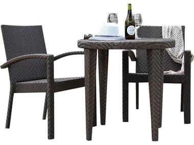 Hospitality Rattan Outdoor Soho Java Brown Wicker 3 Piece Bistro Set HP9033305JBP3DA