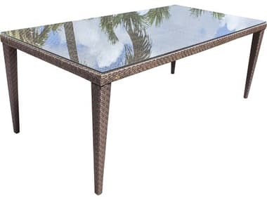 Hospitality Rattan Outdoor Soho Java Brown Wicker 78W x 40D Rectangular Glass Top Dining Table HP9033308JBPGL