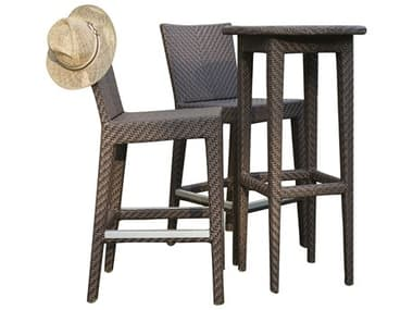 Hospitality Rattan Outdoor Soho Java Brown Wicker 3 Piece Bar Set with Cushions HP9036185JBP3PP