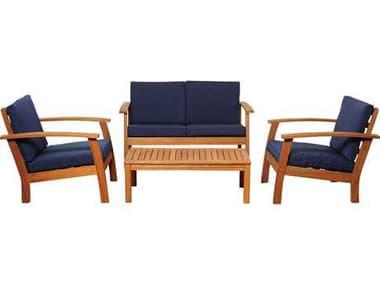 International Home Miami  Amazonia Eucalyptus Four Piece Murano Conversation Set with Blue Cushions IMSCKINGS4DEEPBL