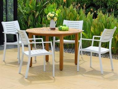 International Home Miami Amazonia Noordam 5 Piece Round Wood Dining Set IMSCOLDBULOT4PORTNEL