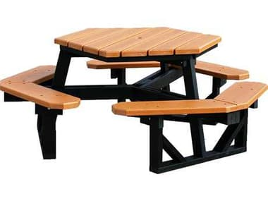 Frog Furnishings Hex Recycled Plastic 6 ft. 69'' Wide Hexagon Picnic Table JHPB6HEX