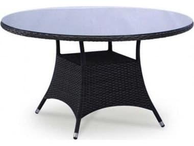 Schnupp Patio Bistro Wicker 47'' Wide Round Glass Top Dining Table JV06R47