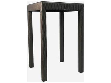 Schnupp Patio Classic Wicker 35'' Wide Square Glass Top Bar table JV13S35