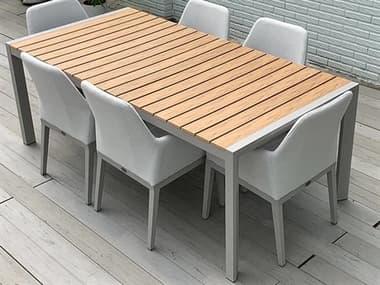 Schnupp Patio Marbella Aluminum Faux 87''W x 40''D Rectangular Dining Table JV17DTFAUX87