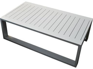 Schnupp Patio Aruba Aluminum White Small 41''W x 32''D Rectangular Coffee Table JV72CTR
