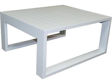 Schnupp Patio Aruba Aluminum White Small 32'' Wide Square Coffee Table JV72CTS
