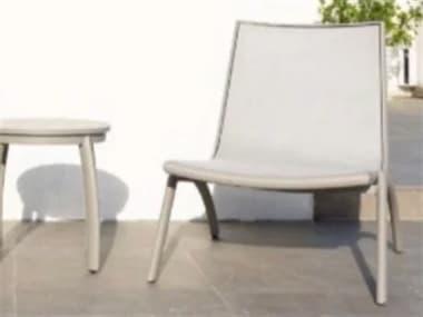 Schnupp Patio Luna Sling Aluminum White Lounge Chair in Cast Silver JV73LCS