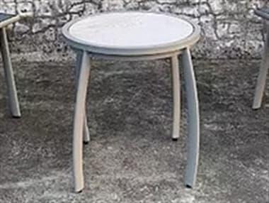Schnupp Patio Luna Aluminum White 17'' Wide Round Glass Top Side Table JV73STG