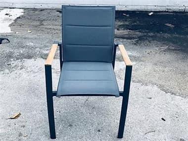 Schnupp Patio Caicos Aluminum Padded Sling Dining Chair with Teak Arms JV74DC