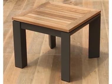 Schnupp Patio Caicos Aluminum 17'' Wide Square Teak Top End Table JV74STTEAK
