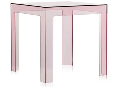 Kartell Outdoor Jolly Transparent Pink 16'' Wide Resin Square End Table KAO8850Y2