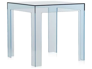 Kartell Outdoor Jolly Transparent Light Blue 16'' Wide Resin Square End Table KAO8850Y5