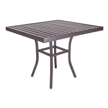 Lane Venture Craftmans Aluminum 42'' Wide Square Slat Top High Dining Bar Table with Umbrella Hole LAV45041