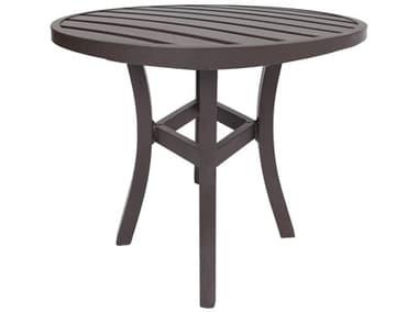 Lane Venture Craftmans Aluminum 43'' Wide Round Slat Top Dining Bar Table with Umbrella Hole LAV45143