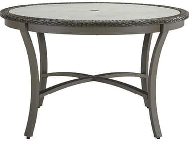 Lane Venture Oasis Ash Wicker 48'' Wide Round Dining Table with Umbrella Hole LAV953648
