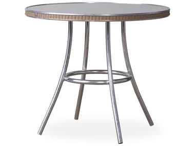 Lloyd Flanders All Seasons Wicker 33'' Wide Round Taupe Glass Top Bistro Table LF124032