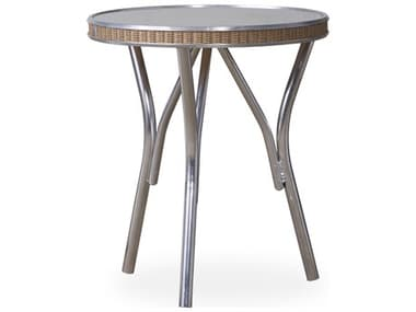 Lloyd Flanders All Seasons Wicker 18'' Wide Round Taupe Glass Top End Table LF124043