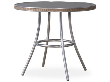 Lloyd Flanders All Seasons Wicker 33'' Wide Round Charcoal Glass Top Bistro Table LF124332