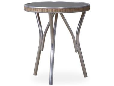 Lloyd Flanders All Seasons Wicker 18'' Wide Round Charcoal Glass End Table LF124343