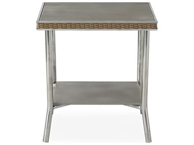Lloyd Flanders Visions Wicker 20'' Wide Square Taupe Glass End Table LF133043