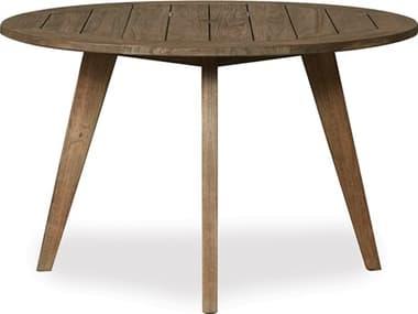 Lloyd Flanders Wildwood Teak 48'' Wide Round Dining Table with Umbrella Hole LF135048
