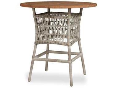 Lloyd Flanders Mackinac Wicker 40'' Wide Round Teak Top Bar Table LF273040