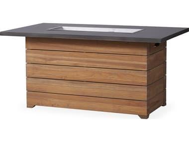 Lloyd Flanders Teak Antique Gray 54''W x 32''D Rectangular Faux Concrete Top Fire Fit Table LF286098