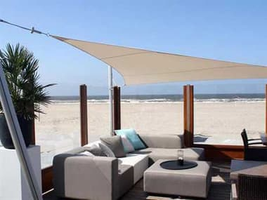 Luxury Umbrellas Ingenua 13 Foot Triangular Anodized Aluminum Shade Sail Patio Umbrella LMINKITT40