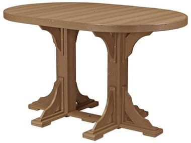 LuxCraft Recycled Plastic 72 x 48 Oval Bar Height Table with Umbrella Hole LUXP46OTBAR