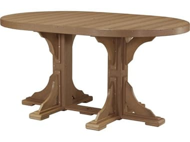 LuxCraft Recycled Plastic 72 x 48 Oval Counter Height Table with Umbrella Hole LUXP46OTCOUNTER
