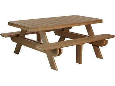 LuxCraft Recycled Plastic 73.5 x 64 Rectangular Picnic Table with Umbrella Hole LUXP6RPTDINING