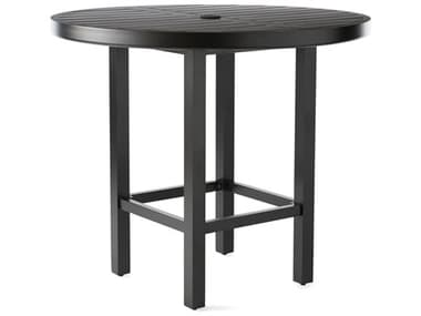 Mallin Trinidad 3000 Series Aluminum 42'' Wide Round Slatted Top Counter Height Table with Umbrella Hole MAL3D042U