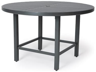Mallin Trinidad 3000 Series Aluminum 60'' Wide Round Slatted Top Counter Height Table with Umbrella Hole MAL3D060U