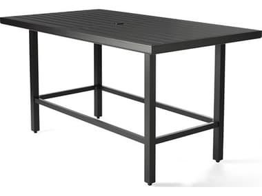 Mallin Trinidad Tables 3000 Series 72'' Wide Aluminum Rectangular Umbrella Hole Counter Table MAL3D272U