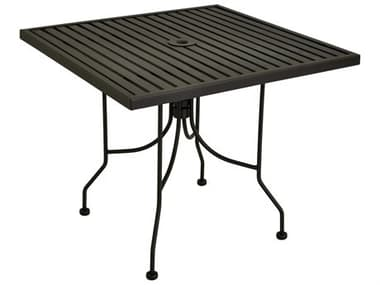 Meadowcraft Avalon 36'' Wide Wrought Iron Square Bar Table with Umbrella Hole MD17360000130