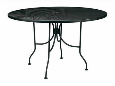 Meadowcraft Mesh Wrought Iron 48'' Wide Round Dining Table  with Umbrella Hole MD664800001